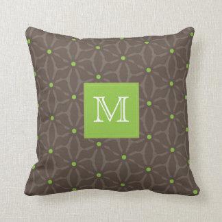 Brown Flower Pattern, Green Polka Dots, monogram Cushions