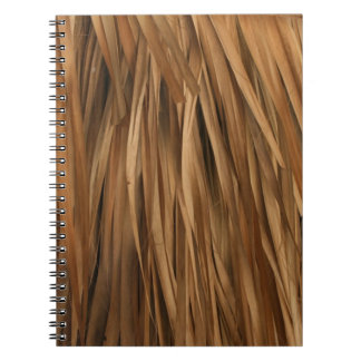 Brown frond roof pattern spiral notebook
