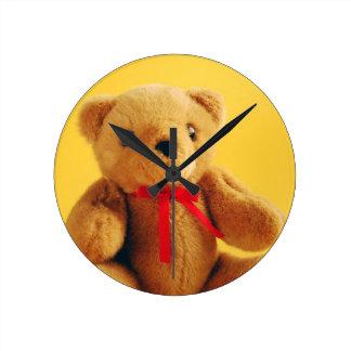 Brown fuzzy teddy bear print wallclock