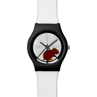 Brown Gerbil in Hamster Wheel Black & White Watch Watches