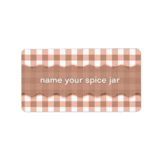 Brown Gingham Checkered Design Kitchen Label Address Label