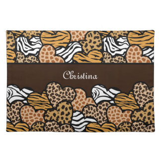 Brown Girly animal print hearts with a name Placemat