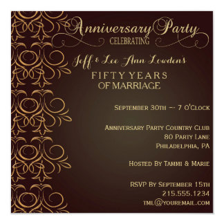 Brown & Gold Anniversary Party Invitation