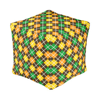 Brown Gold Green and Orange Argyle Pouf