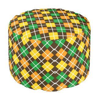 Brown Gold Green and Orange Argyle Round Pouffe
