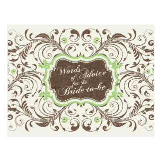 Brown Green Floral Words of Advice for the Bride Postcard