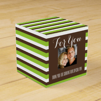 Brown green photo wedding favour box