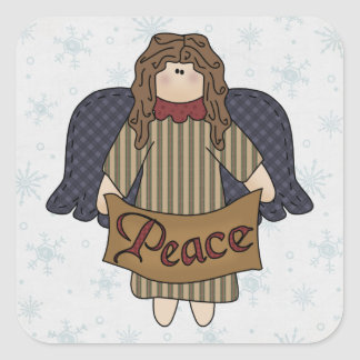 Brown Hair Angel & Peace Banner Square Sticker