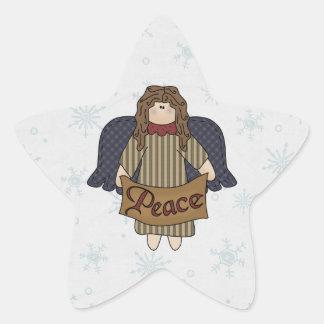 Brown Hair Angel & Peace Banner Star Sticker
