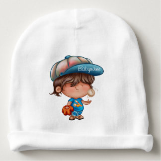 Brown-Haired Baseball Boy Personalized Baby Beanie