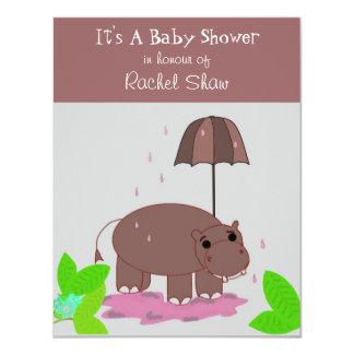 Brown Hippopotamus Baby Shower Invitation