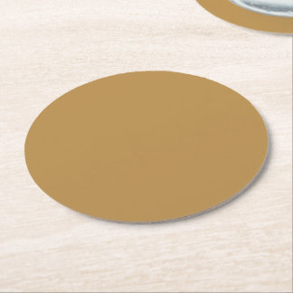 Brown Honey Solid Colour Round Paper Coaster