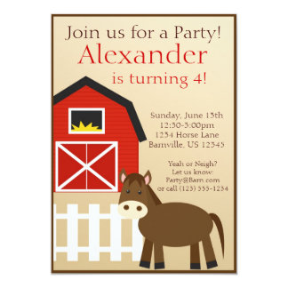 Brown Horse Farm Animal Birthday Party Invite