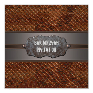 Brown Leather Brown Bar Mitzvah Invitations