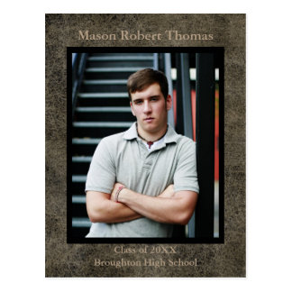 Brown Leather - Graduation Announcement Post Card