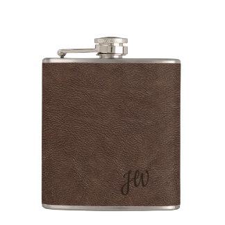 Brown Leather Look Monogram Hip Flask