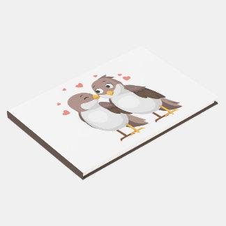 Brown Lovebirds Wedding Party  Cartoon Love Guest Book