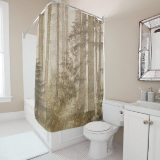 Brown Misty Forest Shower Curtain