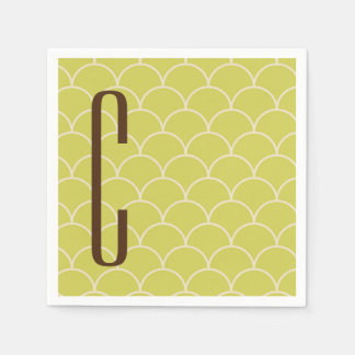 Brown Monogram on Retro Green Pattern Paper Napkins
