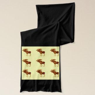 Brown Moose-YellowBkg Scarf