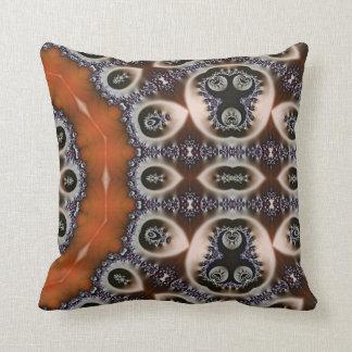 brown, orange and black fractal kaleidoscope pillows