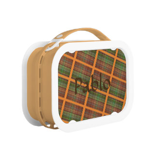 Brown, Orange and Green Plaid Lunch Box