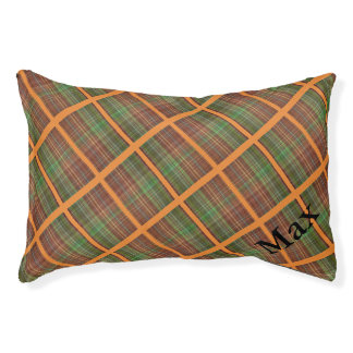 Brown, Orange and Green Plaid Pet Bed