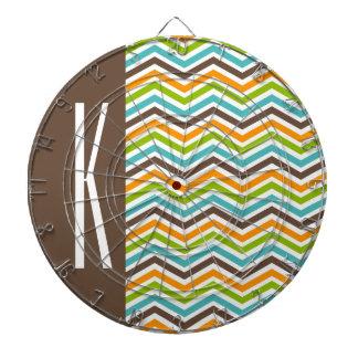 Brown, Orange, Blue & Green Chevron Stripes Dartboards