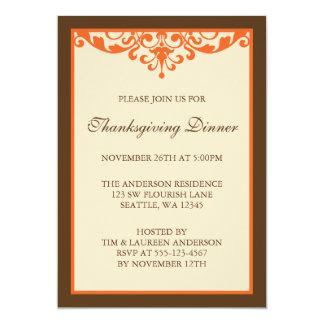 Brown & Orange Flourish Scroll Thanksgiving Dinner Card