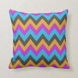 Brown, Orange, Pink and Turquoise Chevron Pattern Pillow