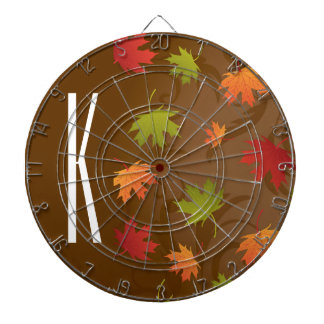 Brown, Orange, Red, & Green Autumn, Fall Leaves Dartboards