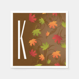 Brown, Orange, Red, & Green Autumn, Fall Leaves Paper Napkins