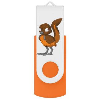 Brown/Orange Reptilian Bird Swivel USB 2.0 Flash Drive