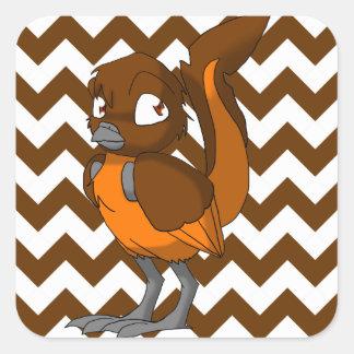 Brown/Orange Reptilian Bird w/ Chevron Back 1 Square Stickers