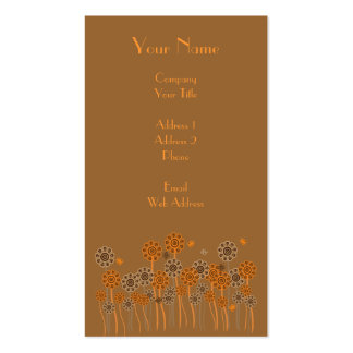 Brown & Orange Retro Flower Garden Customizable Pack Of Standard Business Cards