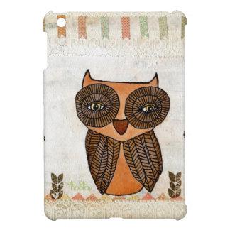 Brown Owl Lace Mixed Media Art Mini IPAD Cover