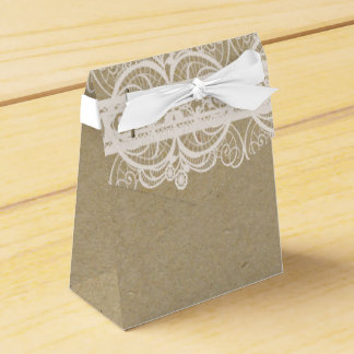 Brown Paper & White Lace Natural Rustic Wedding Party Favour Box