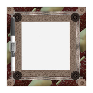 Brown Patchwork Decorated Frame Dry Erase Board