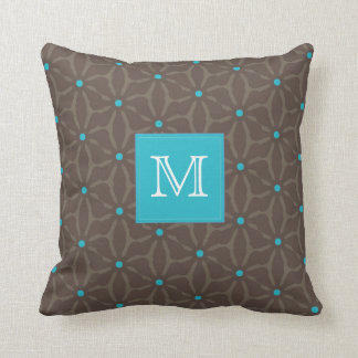 Brown Pattern with Blue Polka Dots & monogram box Cushions
