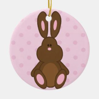 Brown & Pink Bunny Polka Dots Ornament