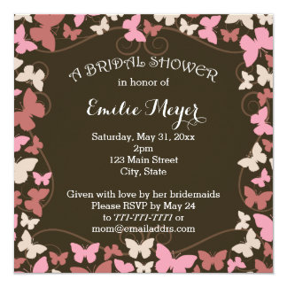 Brown Pink Butterflies Bridal Shower Invitation