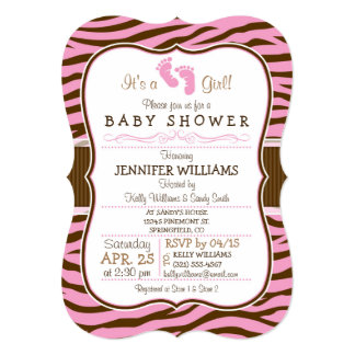Brown, Pink Zebra Stripes Animal Print Baby Shower 5x7 Paper Invitation Card