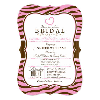 "Brown, Pink Zebra Stripes;  Bridal Shower 5"" X 7"" Invitation Card"