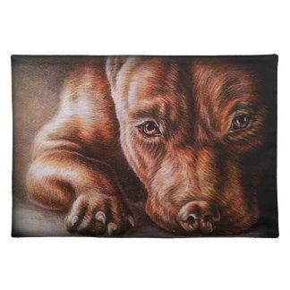 Brown pitbull face drawing of pet portrait dog placemat