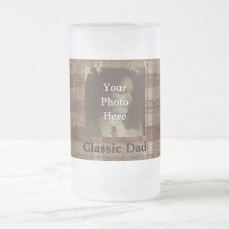 Brown Plaid Photo Customizable Fathers Day Coffee Mugs