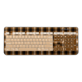 Brown Plaid Wireless Keyboard