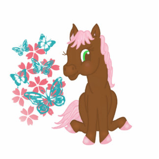 Brown Pony  with Butterflies and Flowers Cut Out