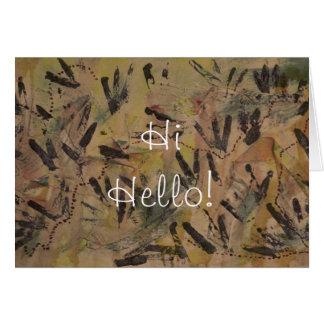 Brown Rainbow Hi Hello Greeting Card by Janz