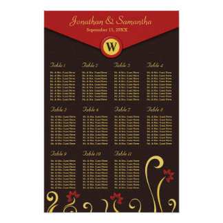 Brown Red Yellow Swirls Table Seating Chart 11 Poster