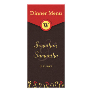 Brown Red Yellow Swirls Wedding Dinner Menu Cards Full Color Rack Card